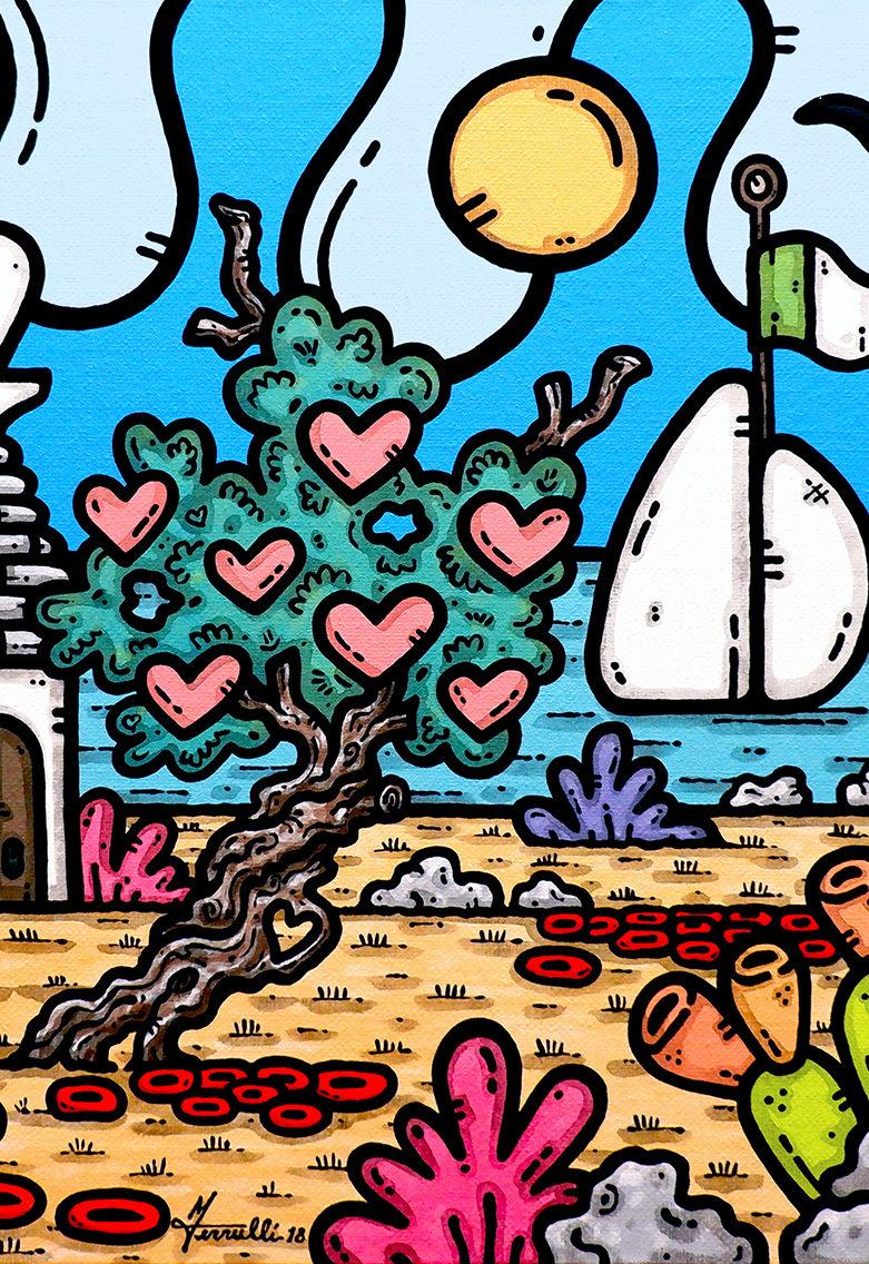 opera, contornismo metafisico, francesco ferrulli, pittore, artista, italiano, arte contemporanea, dipinto, acrilico su tela, quadro colorato, acrylic on canvas, art, painter, georgia, italia, sposi, una vita a gonfie vele.