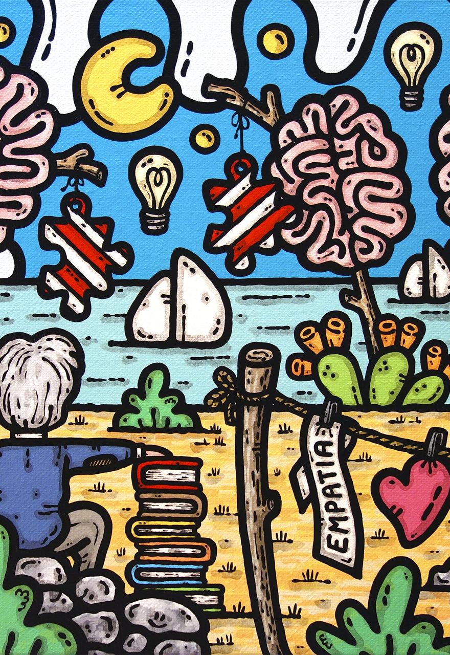 opera, contornismo metafisico, francesco ferrulli, pittore, artista, italiano, arte contemporanea, dipinto, acrilico su tela, quadro colorato, acrylic on canvas, art, painter, sicilia, cervelli, professore, psicoterapeuta, libri, psicoterapia, fa si che i giorni contino.