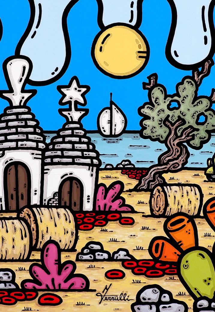 opera, contornismo metafisico, francesco ferrulli, pittore, artista, italiano, arte contemporanea, dipinto, olio su tela, quadro colorato, oil on canvas, art, painter, puglia, trulli, campagna, ape, ascoltando il mare.