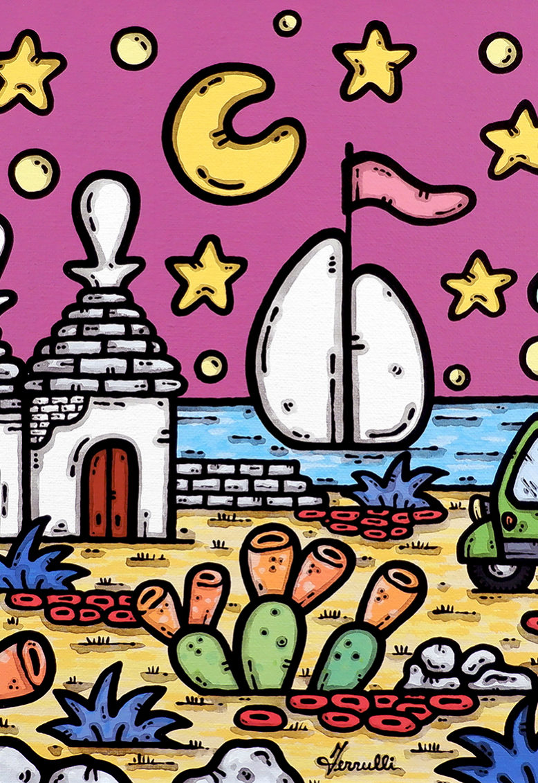 opera, contornismo metafisico, francesco ferrulli, pittore, artista, italiano, arte contemporanea, dipinto, acrilico su tela, quadro colorato, acrylic on canvas, art, painter, puglia, trulli, campagna, ape, il canto delle stelle.