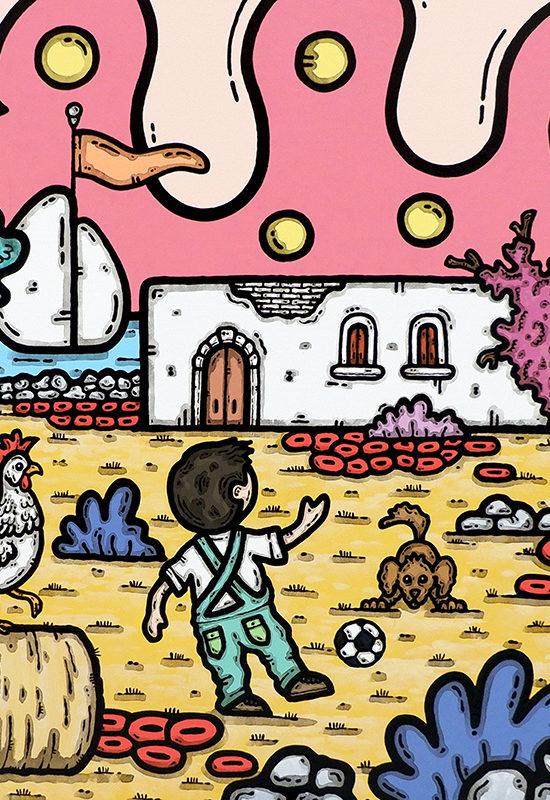 opera, contornismo metafisico, francesco ferrulli, pittore, artista, italiano, arte contemporanea, dipinto, acrilico su tela, quadro colorato, ferrulli, acrylic on canvas, art, painter, puglia, masseria, bimbo, mucche, gallo, cane, il mondo in un sorriso.
