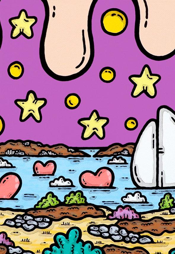 opera, contornismo metafisico, francesco ferrulli, pittore, artista, italiano, arte contemporanea, dipinto, acrilico su tela, quadro colorato, acrylic on canvas, art, painter, puglia, mare, cuori, isole tremiti, gargano, le mie isole.