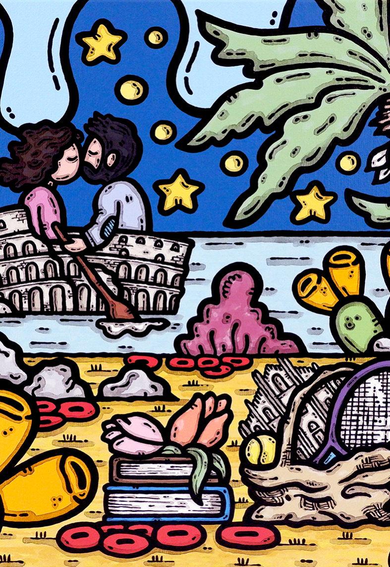 opera, contornismo metafisico, francesco ferrulli, pittore, artista, italiano, arte contemporanea, dipinto, acrilico su tela, quadro colorato, acrylic on canvas, art, painter, roma, milano, vasco rossi, tennis, innamorati, come nelle favole.