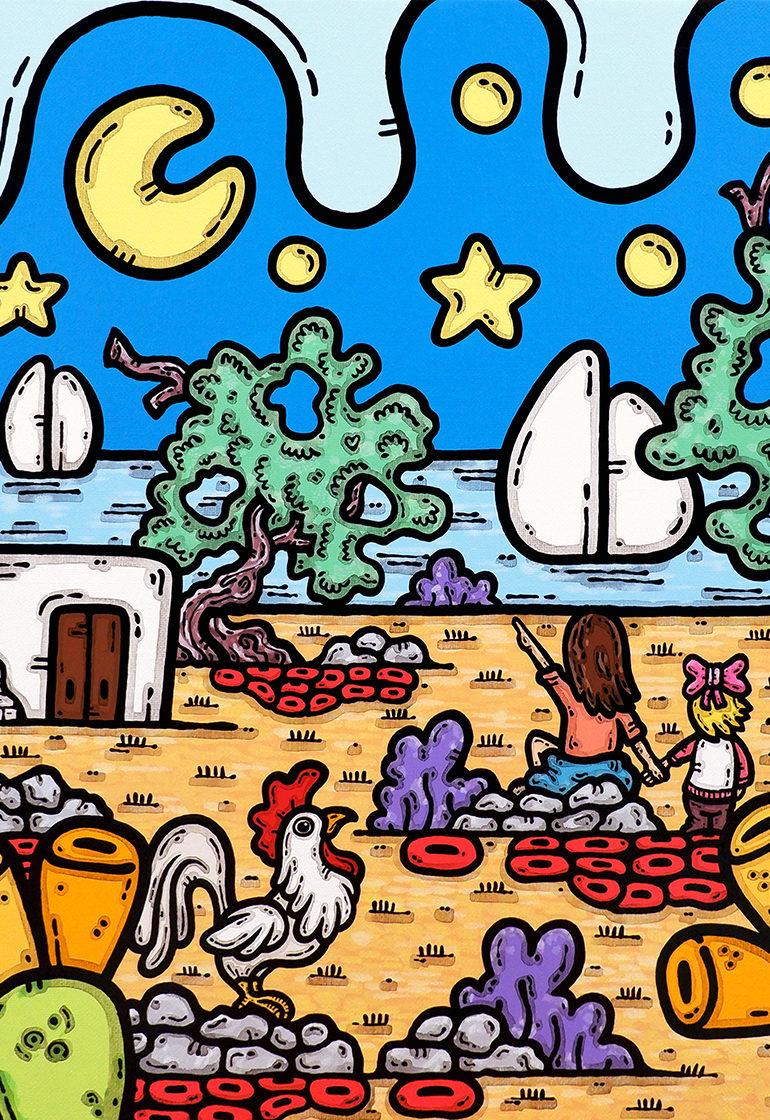 acrilico su tela, dipinto, opera d'arte, contornismo metafisico, art, francesco ferrulli, pittore, italiano, artista, italian artist, arte contemporanea, quadro, colori, paesaggio pugliese, trulli, puglia, ulivi, colori, punta sempre alla luna.