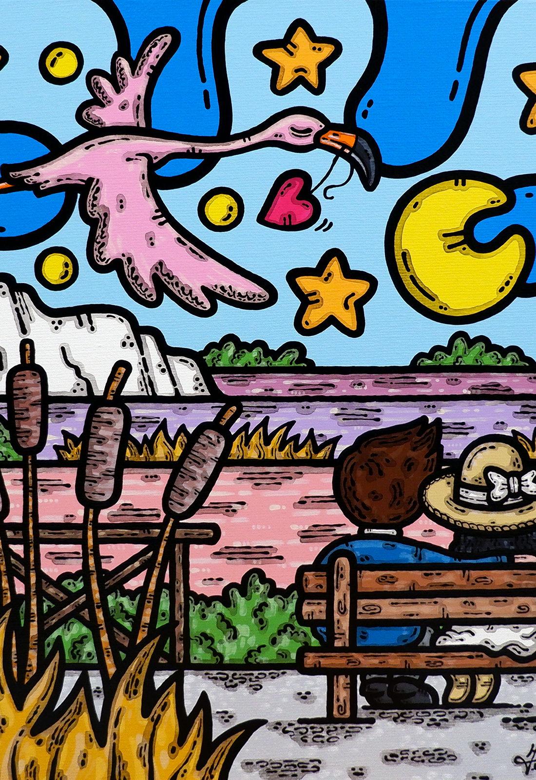 acrilico su tela, dipinto, opera d'arte, contornismo metafisico, art, francesco ferrulli, pittore, italiano, artista, italian artist, arte contemporanea, quadro, colori, paesaggio pugliese, saline, margherita di savoia, puglia, fenicottero, fidanzati, colori, bacini sotto le stelle.