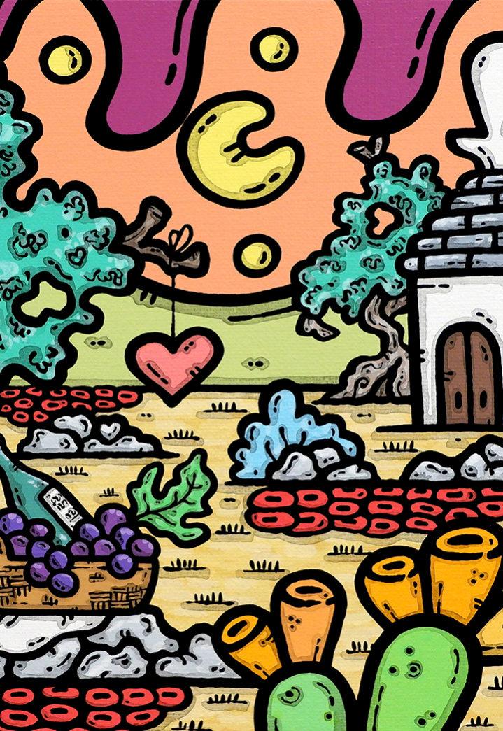 acrilico su tela, dipinto, opera d'arte, contornismo metafisico, art, francesco ferrulli, pittore, italiano, artista, italian artist, arte contemporanea, quadro, colori, paesaggio pugliese, trullo, ulivi, colori, uva, vino, amore di vino.