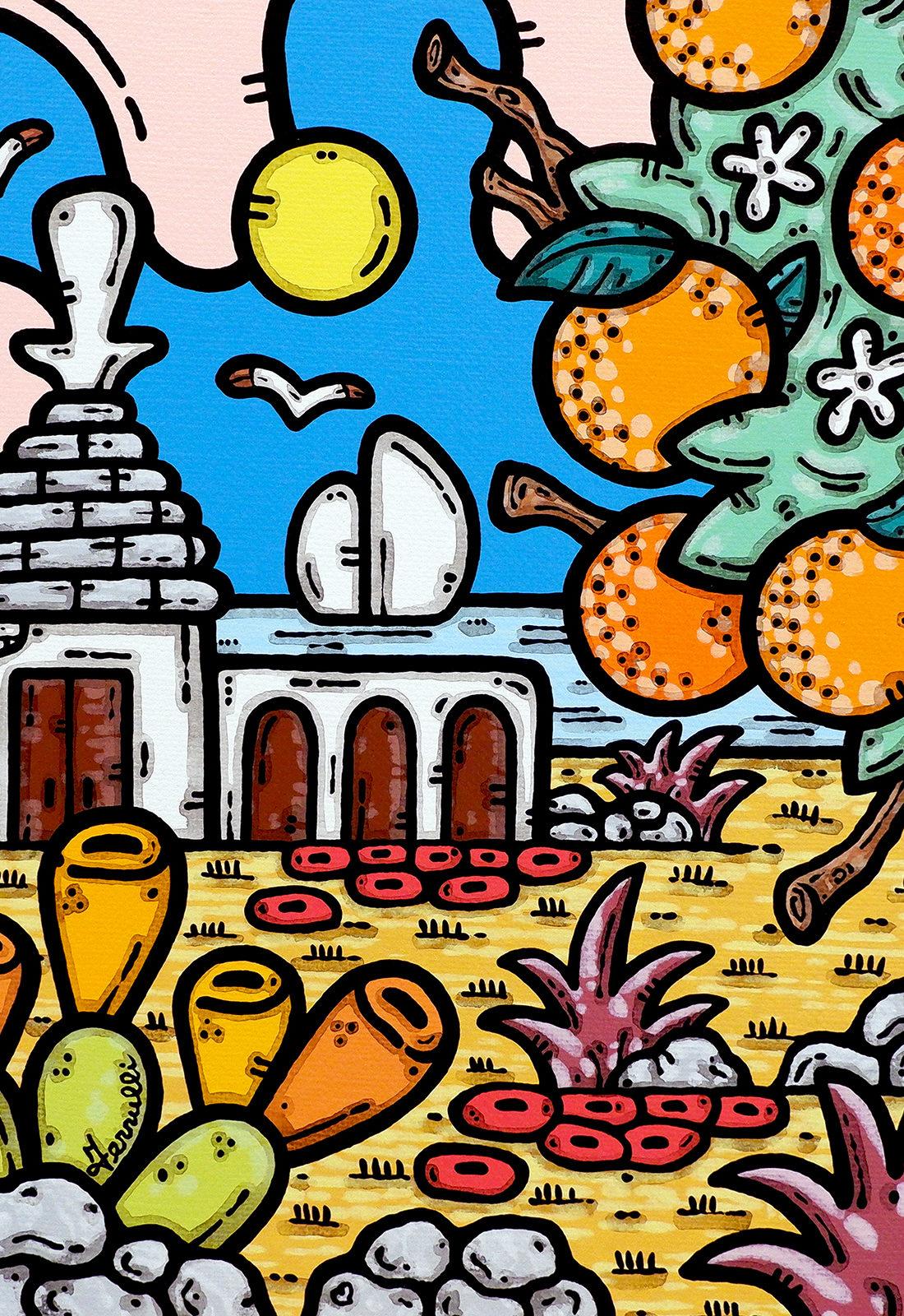 acrilico su tela, dipinto, opera d'arte, contornismo metafisico, art, francesco ferrulli, pittore, italiano, artista, italian artist, arte contemporanea, quadro, colori, paesaggio pugliese, trullo, arance, arancio in fiore, mare, colori.