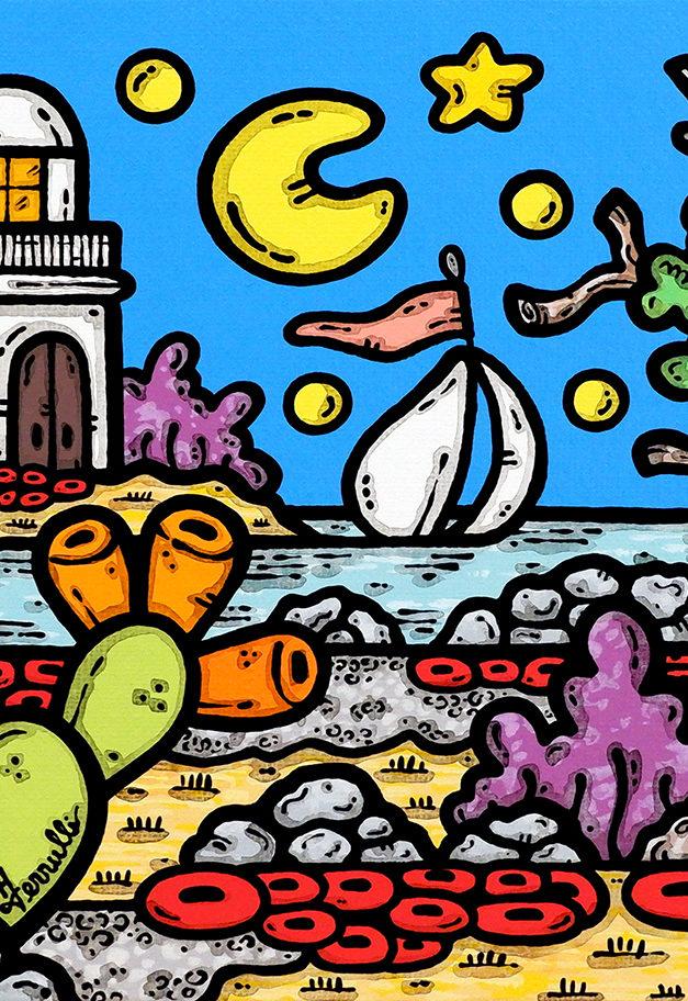 acrilico su tela, dipinto, opera d'arte, contornismo metafisico, art, francesco ferrulli, pittore, italiano, artista, italian artist, arte contemporanea, quadro, colori, paesaggio pugliese, faro, notte, vele, ulivo, folate di sogni.