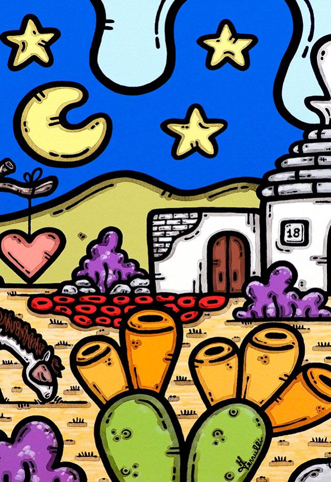 acrilico su tela, dipinto, opera d'arte, contornismo metafisico, art, francesco ferrulli, pittore, italiano, artista, italian artist, arte contemporanea, quadro, colori, paesaggio pugliese, trullo, cavallo, ulivi, colori, famiglia, legami d'amore.