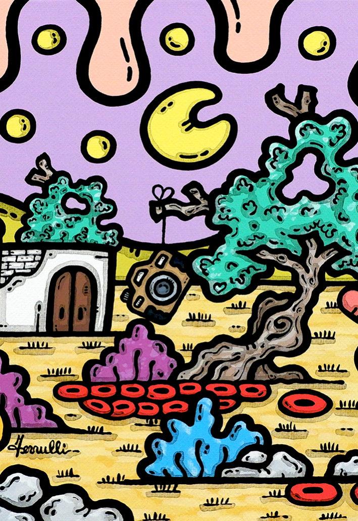 acrilico su tela, dipinto, opera d'arte, contornismo metafisico, art, francesco ferrulli, pittore, italiano, artista, italian artist, arte contemporanea, quadro, colori, paesaggio pugliese, trulli, ulivi, colori, pane, amore, fotografia.