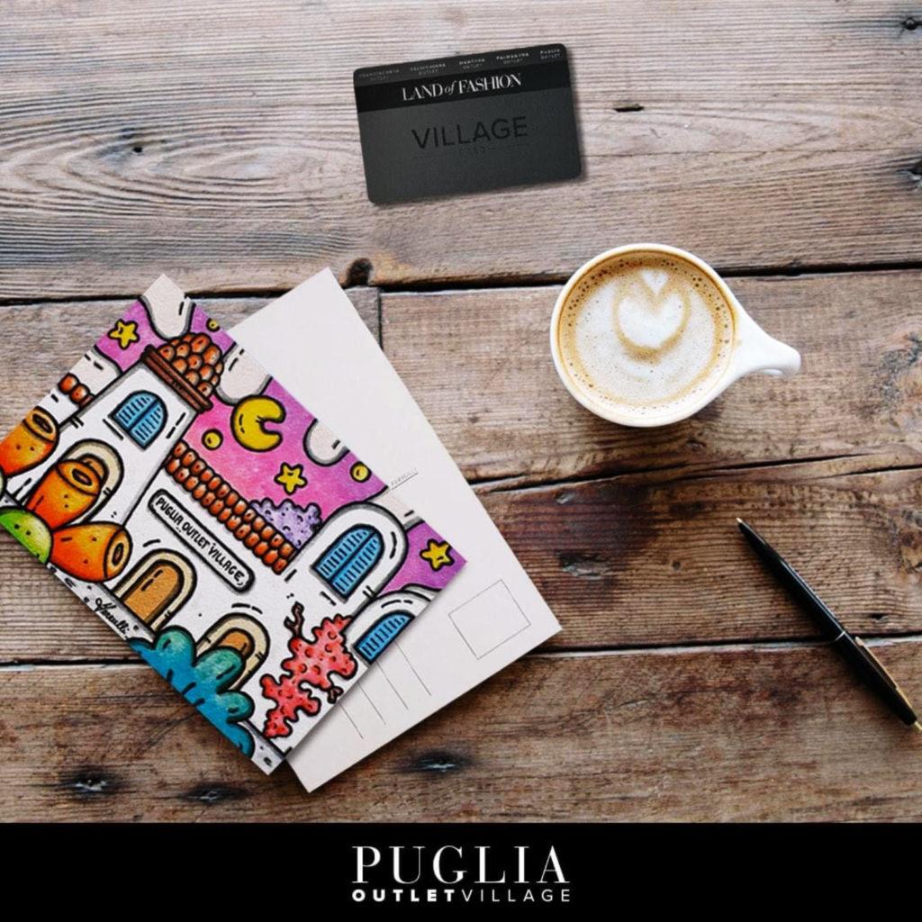 puglia outlet village, collaborazione, molfetta, centro commerciale, cartoline, arte, village card, francesco ferrulli, artista, pittore, pugliese, opere, contornismo metafisico.
