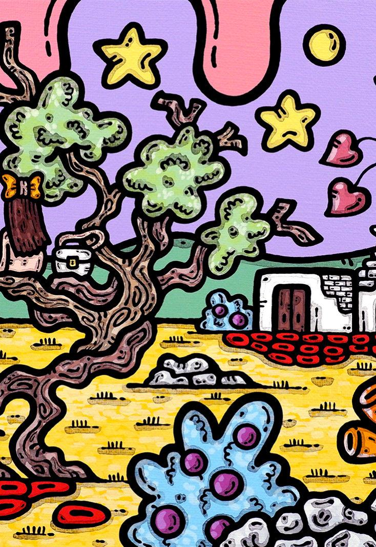 acrilico su tela, dipinto, opera d'arte, contornismo metafisico, art, francesco ferrulli, pittore, italiano, artista, italian artist, arte contemporanea, quadro, colori, paesaggio pugliese, ulivo, trullo, amiche, come sorelle.