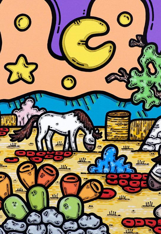 acrilico su tela, dipinto, opera d'arte, contornismo metafisico, art, francesco ferrulli, pittore, italiano, artista, italian artist, arte contemporanea, quadro, colori, paesaggio pugliese, cavalli, altalena, quercia.