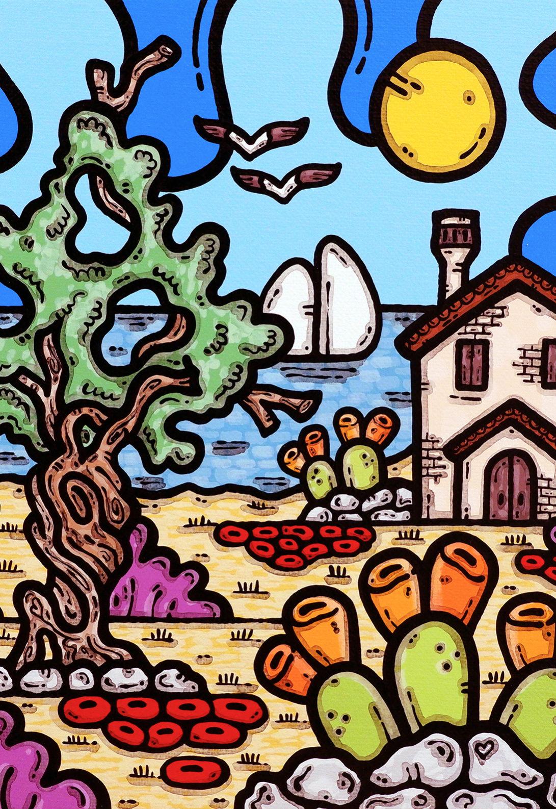 acrilico su tela, dipinto, opera d'arte, contornismo metafisico, art, francesco ferrulli, pittore, italiano, artista, italian artist, arte contemporanea, quadro, colori, calabria, la pace dei sensi.