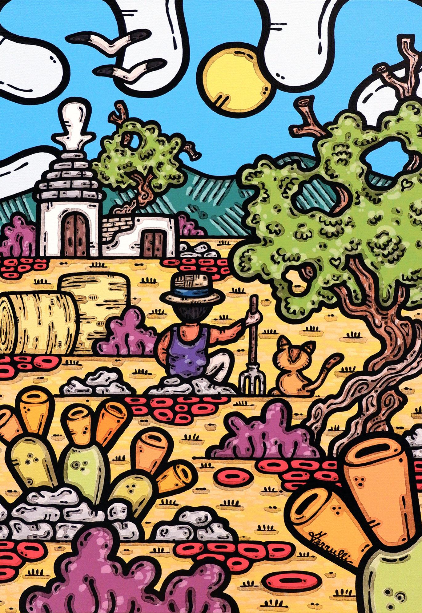 acrilico su tela, dipinto, opera d'arte, contornismo metafisico, art, francesco ferrulli, pittore, italiano, artista, italian artist, arte contemporanea, quadro, colori, paesaggio pugliese, contadino, gatto, ulivo, le mie radici.