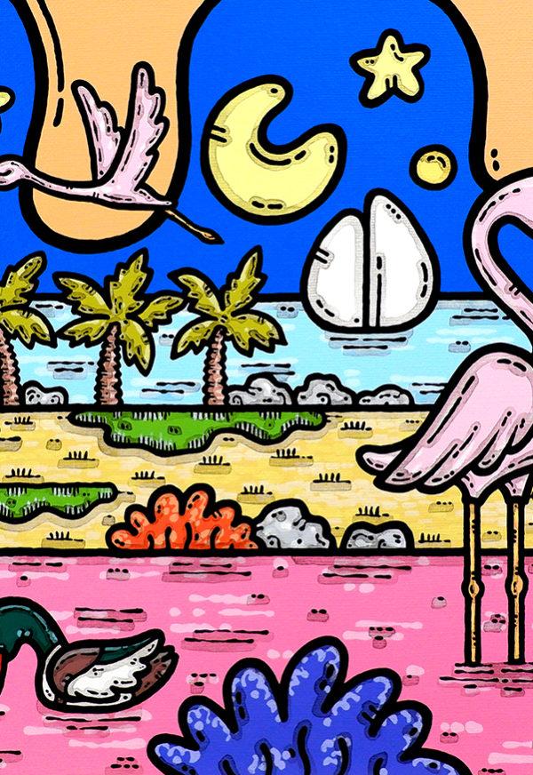 acrilico su tela, dipinto, opera d'arte, contornismo metafisico, art, francesco ferrulli, pittore, italiano, artista, italian artist, arte contemporanea, quadro, colori, puglia, margherita di savoia, saline, fenicotteri, torre pietra.